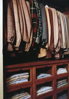 The closet of a well dressed man.