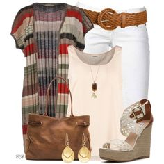 """Striped Short Sleeve Cardi and Wedges"""