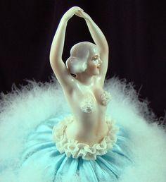 Vintage Art Deco Burlesque Dancer Powder Puff Doll by Alyssabeths, $75.00