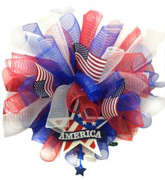 Stars & Stripes Deco Mesh Wreath designed by Chelsey A.C. Moore Syracuse, NY #decomesh #wreath