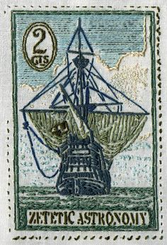 Nautical ATC, 3.5x2.5 in. by Penny Nickels, via Flickr. #SquidWhaleDesigns