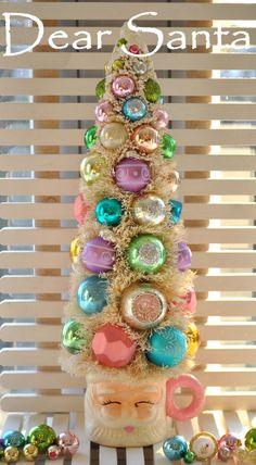 Christmas Bottle Brush Tall Pink Santa Bottle Brush Tree