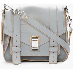 PROENZA SCHOULER Grey & Banana Yellow Leather Ps1 Pouch Shoulder Bag ($1,725) ❤ liked on Polyvore