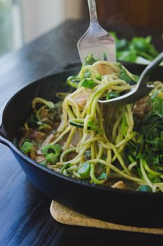 Chicken Satay Skillet With Zucchini Noodles {Gluten-Free + Paleo Option} // So Let's Hang Out