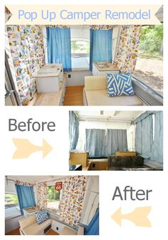 Pop up camper remodel. Before and after shots as well as #DIY tutorials for curtains and cushion covers. #camping #travel