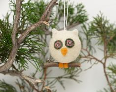 Felted Owl Ornament Chistmas Winter Wonderland Wool Needle Felt Decorations Woodland Tree Baby Nursery Home Decor White Greenteamt. $18.00, via Etsy.