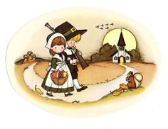 1970s Joan Walsh Anglund Calendar art - Thanksgiving thanksgiv, autumn, fall, 1970s, walsh angland, art i like, joan walsh anglund calendars, jwa, illustr