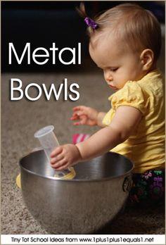 Tiny Tot School Ideas // METAL BOWLS 9-12 months #babyplay #totschool