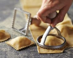 Williams Sonoma Ravioli Stamps: Make homemade ravioli with your favorite fillings—it's easy when you use these authentic stamps from Italy. Our set includes both round and square stamps that efficiently seal and cut ravioli in one motion. $14.00