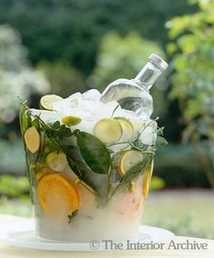 Homemade ice bucket with slices of citrus and leaves frozen into it...