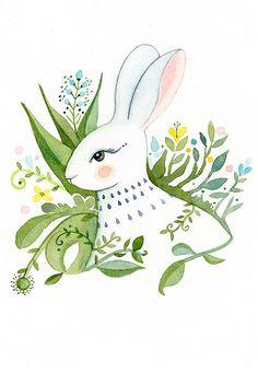 Spring Hare - Art Print.  via Etsy.