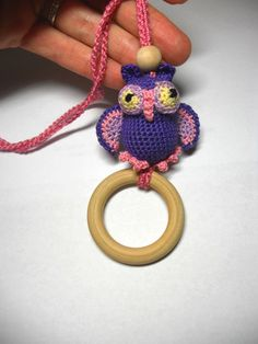 Crochet Owl  Pendant Wooden Teething Ring  by sweetshtuchky,