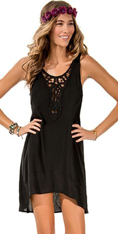 L Space 2014 Threads Off Limits Black Dress #LSpace #2014 #Black #Dress #SexyDress #CoverUp #Stylish #Beachwear #Beachseason #Southbeachswimsuits