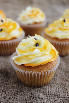 Passionfruit Cupcakes by lydiabakes #Desserts #Cupcakes #Tropical #PassionFruit #Fruit #Egg #Curd #Filling #Buttermilk #Frosting #ToMake