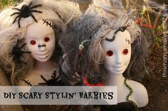 Scary Styling Barbies - A thrifted Halloween decor DIY