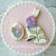 Hydrangeas Bunny-Lilacs Easter egg cookies