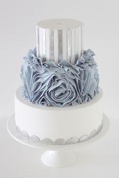 Unique silver and grey cake