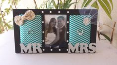 So cute! I will need one of these! Teal Turquoise Metallic Chevron Mr. and Mrs. by TheKnittingPig, $28.00