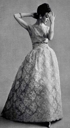 Lace evening gown by Jean Patou ♥ 1960