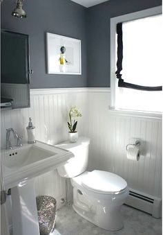 """Benjamin Moore """"Rock Gray"""" wall color. This color makes me wish I had more rooms to paint! bathrooms grey and white, half bathroom, wainscoting ideas bathroom, bathroom colors ideas, gray and white bathroom ideas, bathroom white wainscoting, grey and white bathroom ideas, grey bathrooms ideas, grey and white bathrooms"""