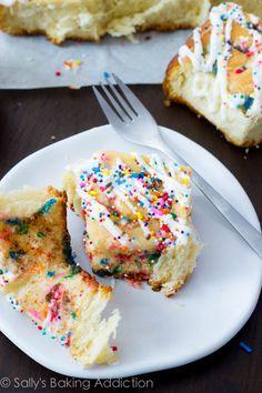 Cake Batter Cinnamon Rolls (without cake mix) by sallysbakingaddiction.com
