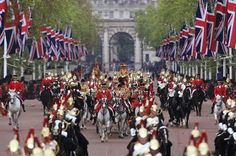The big day! The Sovereign's Escort trot down the Mall to the cheers of hundreds of thousands and the bangs of the King's Troop's guns.