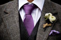 purple groom tie