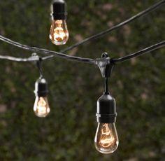 restoration hardware, vintage lighting, patio lighting, bulb, string lights, backyard, garden, parti, party lights