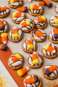 Candy Corn Pretzel Hugs from Sallys Baking Addiction  250* 3-4 minutes
