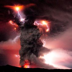Volcanic lightning bolts form in the ash plume during the eruption of the volcano in southern Chile<3