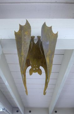 Halloween Bat Vampire Metal, Large Hanging 3-D  Flat or Curled Garden Yard Art.