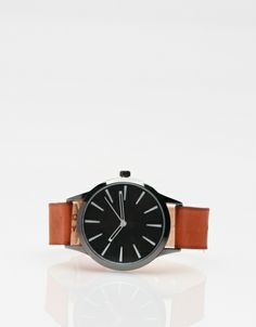COLORBLOCK LEATHER WATCH / chestnut / Cold Picnic