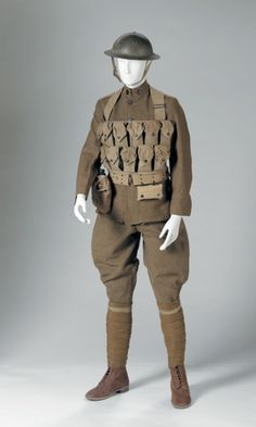 Unknown Maker for U.S ArmyAmerican  Doughboy Uniform, c. 1918  Wool with metal fastenings, metal helmet, reproduction leather boots