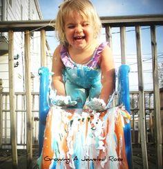 Add shaving cream to the slide! #shavingcream #boredombuster