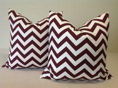 Decorative maroon chevron pillows!
