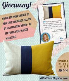 My friend's pillow. Check it out! Jillian Rene Decor Pillow Giveaway Jan 7-14!