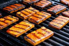 BBQ-Beer-Grilled Tofu...1 bottle beer---1t finely minced ginger---2/3c BBQ sauce---3 garlic cloves---2 blocks, extra firm tofu