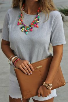 neon statement necklace + neutral outfit
