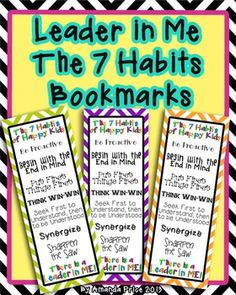 Leader in Me -The 7 Habits  bookmarks in nine colorful design$!