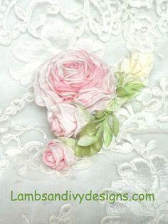 Ribbonwork Brooch Pin Pink Roses Ribbon Work Victorian Sweet Peas. $28.95, via Etsy.