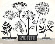 Wild Herbs Flowers silhouette vector clip art, card, label, diy invitation