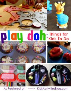 A dozen different ways that kids can play with play dough.