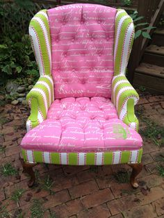 Pink & Green Wingback Chair by LoomisDesigns on Etsy, $650.00