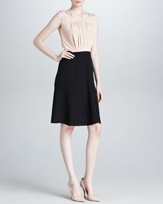 DEREK LAM Sleeveless Two-Tone Silk Dress, Nude/Black