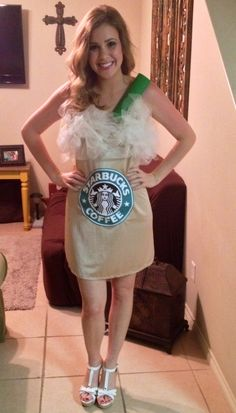Starbucks Frappuccino costume I made for Halloween this year. Tan dress slip, white tulle, green painted paper towel roll, and I printed off the logo!
