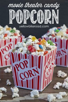 Movie Theater Candy Popcorn-The great movie theater debate - candy, or popcorn? Now you can have both! Yummy white chocolate popcorn and your favorite movie theater candy come together for an extra special movie night treat.