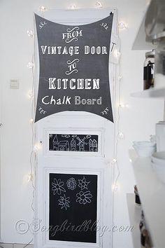 Vintage Door Chalkboard {organisation in the kitchen} - Songbird