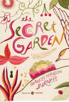 Illustration by Jillian Tamaki for  Penguin USA. This book cover was embroidered by hand. Secret Garden by Frances Hodgson Burnett.