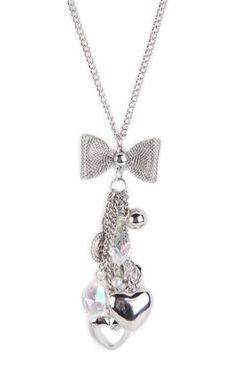 Deb Shops Long Necklace with Mesh Bow and Charms