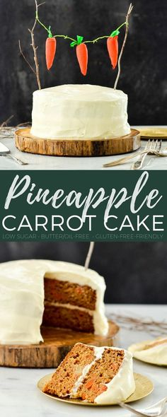 This Healthy Carrot Pineapple Cake is a lightened-up version of everyone's favorite spring dessert! It is low-sugar, has no butter or oil and can easily be made gluten-free! #carrotcake #dessert #healthyrecipe #recipe #dairyfree #oilfree  via @joyfoodsunshine